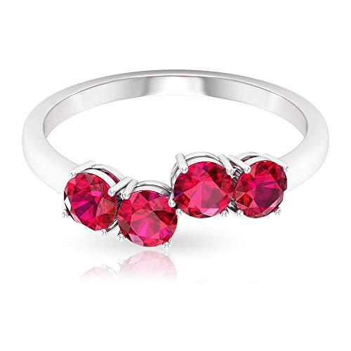 Anillo de declaración de oro rubí certificado SGL de 1,36 ct, clásico de piedras preciosas, anillo de dama de honor, apilable para mujer, anillo de aniversario único, 14K Oro rosa, Size:EU 48