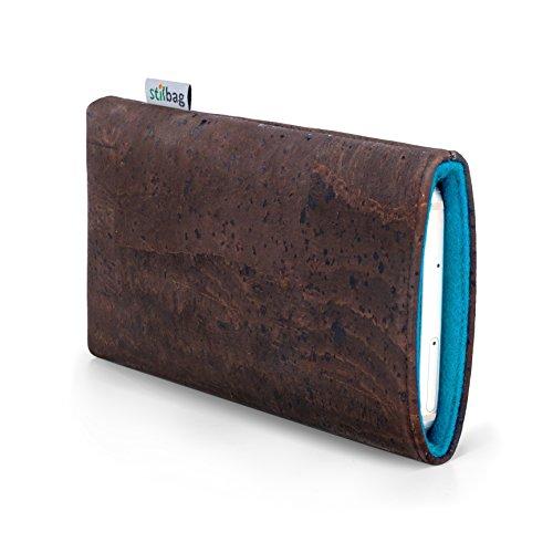 stilbag Handyhülle VIGO für Motorola Moto X 2.Gen | Smartphone-Tasche Made in Germany | Kork braun, Wollfilz Azur