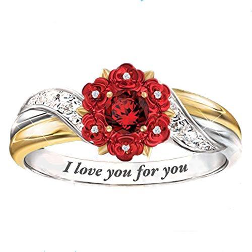 2 unids Rosa Diamante Letras I Love You Logo Rose Love Promesa Anillo Creative Alloy Party Ring 8号 Ring