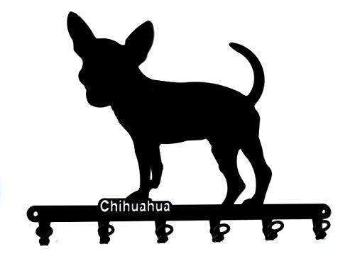 steelprint.de Schlüsselbrett/Hakenleiste * Chihuahua * - Hunde Schlüssel-Leiste - 6 Haken - schwarz