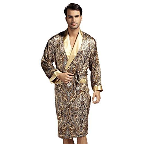 Forever Men's Angel Robe 100% soie luxueuse cadeau Peignoir Kimono, Café, Large