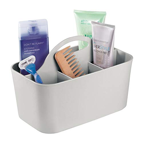 mDesign Plastic Portable Storage Organizer Caddy Tote - Divided Basket Bin, Handle for Bathroom, Dorm Room - Holds Hand Soap, Body Wash, Shampoo, Conditioner, Lotion - Small - Light Gray