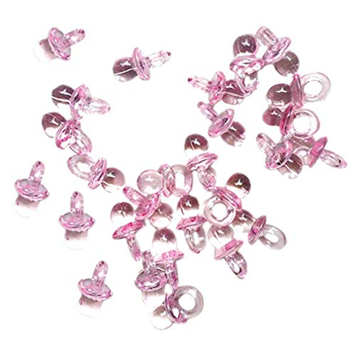 KaariFirefly - Confezione da 50 mini ciucci in acrilico trasparente, ideali come decorazioni per baby shower e feste, per bambini e bambine, colore: rosa