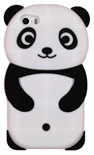 Iphone SE Case, Iphone 5s Case, Iphone 5 Case, Cute Cartoon 3D Adorable Lovely Creative Panda Soft Silicone Gel Rubber Protective Cover Case for Iphone 5 / 5s / SE ( Black Panda )