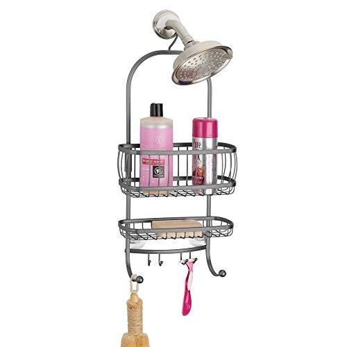 mDesign Duschablage zum Hängen – praktisches Duschregal ohne Bohren aus rostbeständigem Metall – zwei Duschkörbe zum Hängen und sechs Haken für Duschzubehör – grau