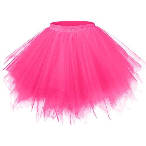 GirstunmBrand Damen 50er Vintage Tüllrock Petticoat Mehrfarbig Bubble Tanzkleid Rock Fuchsie-S/M
