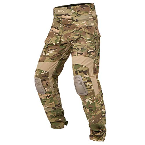 CARWORNIC Men's Combat Pants Rip-Stop Military Airsoft Hunting Paintball Army Tactical Camo Pants with Knee Pads