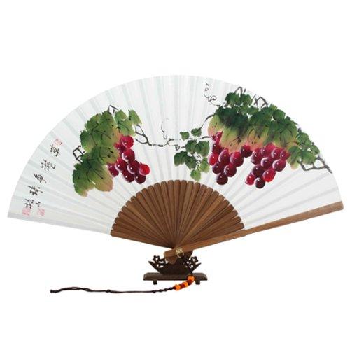 Antique Alive Paper Fan Peint à la Main Pliable Raisin Peinture coréen Riz Blanc Papier mûrier Bambou en Bois Art Asiatique Oriental Mur Deco portatif Ventilateur