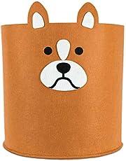 Budding Bear Wasmand Baby - 30L Peuter & Baby Speelgoed Mand Gemaakt van 100% Eco-vriendelijk, Gerecycled Vilt Materiaal – Groot (35 x 35cm) Wasbaar – Ideaal Voor Kinderkamers – Bruine Hond