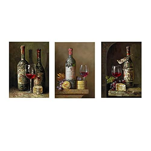 zhengchen Impresión en Lienzo Vintage Botella de Vino Tinto Fruta Pintura al óleo sobre Lienzo Arte de la Pared Carteles e Impresiones Cocina Habitación Decoración de café 60x80cm x3 Sin Marco