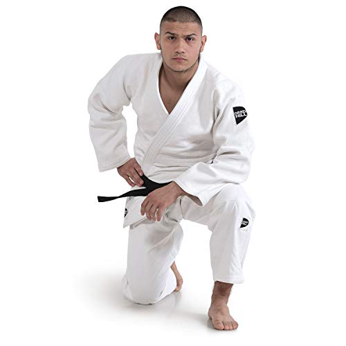 GREEN HILL JUDOGI Semi Competition Advanced 630g/m2 Judo GI Kimono Bianco Blu (Bianco Logo Nero, 170...