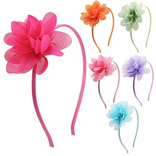 Candygirl - Set di 6 cerchietti per capelli con fiore e serra, in mussola di seta,...