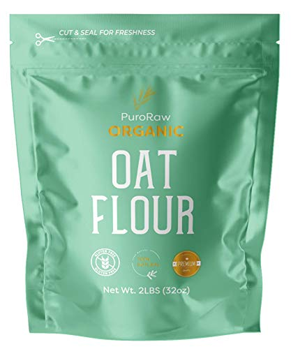 Oat Flour, 2lbs, Gluten Free Oat Flour for Baking, Oat Flour Gluten Free, Oatmeal Flour, Oat Powder, Whole Oats Flour, All Natural, Non-GMO, Batch Tested, Product of Canada, 2 Pounds, By PuroRaw.