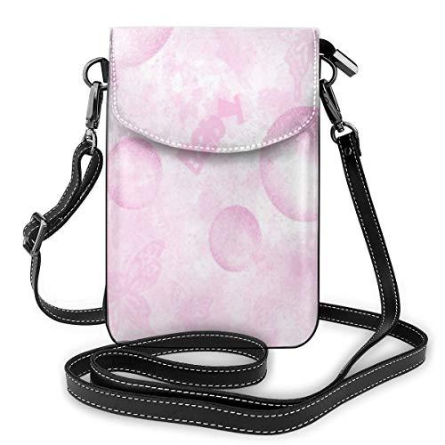 Goxegag Lederetui für Mobiltelefon, multifunktional, leicht und elegant, Schultergurt und verstellbarer Schultergurt – rosa Schmetterlinge und Luftballons
