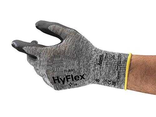 Ansell HyFlex 11-801 Guanti da Lavoro, Multiuso, Guanto Meccanico, Presa Migliorata e Comfort Technology, Grigio/Nero, Taglia 8 (12 Paia)
