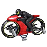 Glomixs RC Remote Control Motorcycle, Light Aircraft Model, 360° Spinning Action Rotating Drift Stunt Motorbike 2.4Ghz Radio Control Racing Motorcyle with Riding Figure Toys for Kids Boys