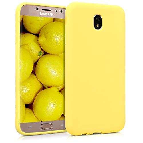 kwmobile Funda Compatible con Samsung Galaxy J7 (2017) DUOS - Funda Carcasa de TPU Silicona - Protector Trasero en Amarillo Pastel Mate