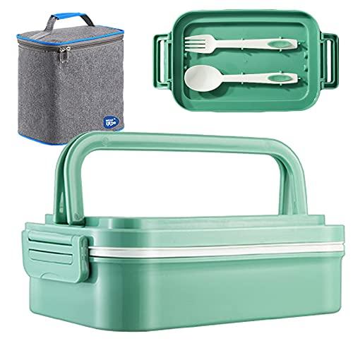 Yeah-hhi Bento Lunch Box Kids Contenedor De Alimentos De Seguridad De Microondas con Bolsa De Almuerzo Y Cubiertos para La Oficina De La Escuela Picnic Viajes Al Aire Libre,Verde,900ml