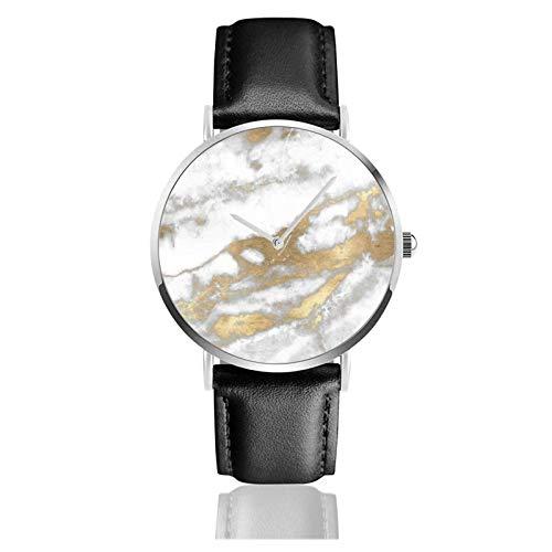 Golden Strokes Brillo metálico Mármol Piedra gris Reloj Movimiento de cuarzo Correa de reloj de cuero impermeable para hombres Mujeres