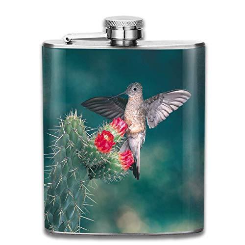 Presock Kolibri Kaktus Blume Retro Tragbare 304 Edelstahl Auslaufsicher Alkohol Whisky Schnaps Wein 7 UNZE Topf Flachmann Reise Campin