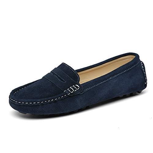 LUOBANIU Damen Mokassin Classic Bootsschuhe Flache Schuhe Halbschuhe aus Leder Slip-On Slipper Geschlossene Ballerinas Blau 41 EU(US 11)