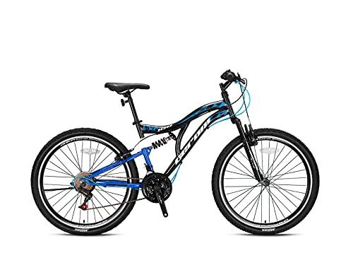 Geroni FCX 100 - Bicicleta de montaña (21 marchas, 20', 24', 26'), color negro y azul