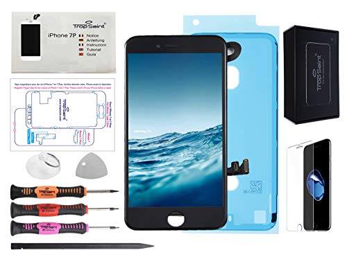 Trop Saint Pantalla Negro para iPhone 7 Plus Completa Premium Kit de reparación LCD con Guía, Herramientas, Film Protector Pantalla y Pegatina Adhesiva Impermeable