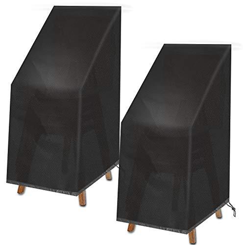 VAZILLIO Gartenmöbel Abdeckung, Schutzhülle für Gartenstühle Cover Stuhl Schutz der Stapelstühle Oxford Wasserdicht Winddicht Reißfest UV-Schutz -Abdeckung 2 STK* 75 * 75 * 120 cm