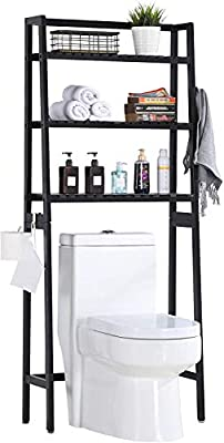 MallBoo Toilet Storage Rack, 3 -Tier Over-The-Toilet Bathroom Spacesaver - 100% Wood and Easy to Assemble (Classic Black)