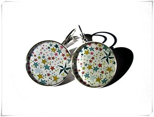 Pendientes geométricos con diseño de estrellas, diseño de estrellas pequeñas