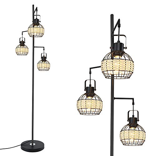 3-Light Floor Lamp, Industrial Floor Lamp with Retro Pipe Lamp Shade, Black Tree Antique Hanging Floor Lamp, Tall Vintage Pole Light Standing Lamp for Living Room, Bedroom, Office( Bulbs Included)