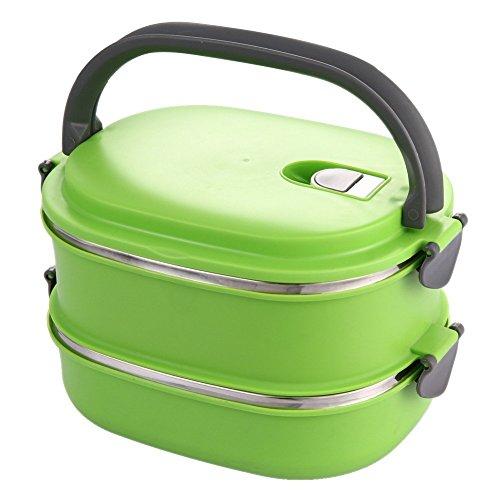Mittagessen-Box - TOOGOO(R)Isolierte Mittagessen-Box Edelstahl Lebensmittel Vorratsbehaelter Thermo Server Doppelschicht Gruen