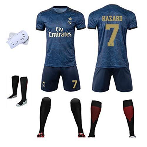 GHMEI Männer/Kinder Fußball # 7 Hazard Trikot Set, 8 Kroos, 9 Benzema, 10 Modric, 11 Bale Football Sportswear Kurzarm-Shortsocken-#7-XL