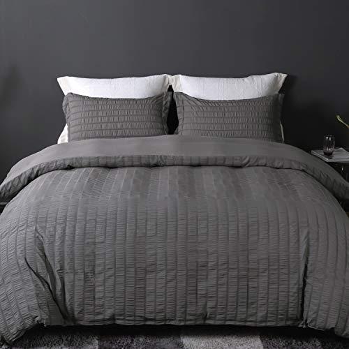 BEDELITE Duvet Cover Twin Size(68x90in), Soft Microfiber Weave Textured Grey Twin Comforter/Quilt Cover Set with Zipper Closure, Seersucker Stripe Duvet Cover-2 Pieces (1 Twin Cover + 1 Pillow Sham)