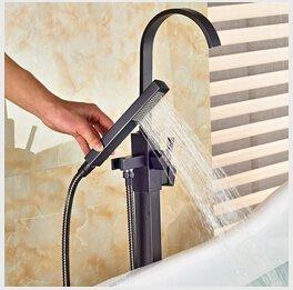 HONYGE LXGANG Grifo moderno al por mayor y al por menor de bronce aceitado grifo de baño montado en el suelo mezclador de pie para bañera + ducha de mano, ducha transparente para bañera