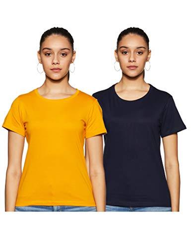 T2F Women's Regular fit T-Shirt (Pack of 2) (WOM-TSRT-2P-01_Mustard, Black Small)