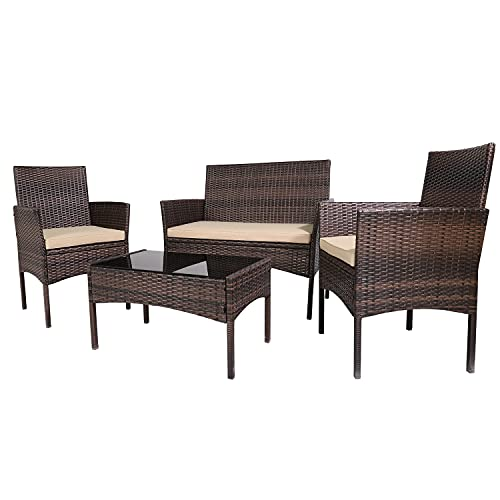 Patio Furniture Sets 4 Pieces Outdoor Patio Set Rattan Chair...