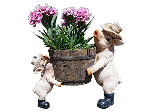 Daisy Bumbles novelty Pig piglet planter for garden, patio, outdoors, garden ornament, home decoration, flowers, plants, animal, figures, sculptures, statue, novelty, two pigs with planter pot