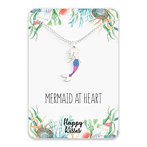"Mermaid Necklace – Cute Mermaid Gift Charm for Women, Girls & Teens – ""Mermaid at Heart"" Message Card"