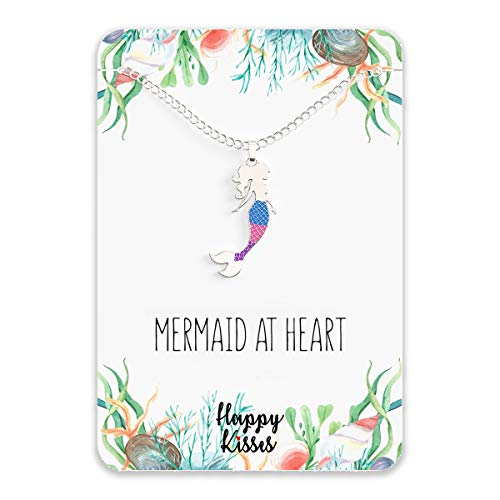 "Mermaid Necklace – Cute Mermaid Gift Charm for Women, Girls & Teens – ""Mermaid at Heart"" Message Card"