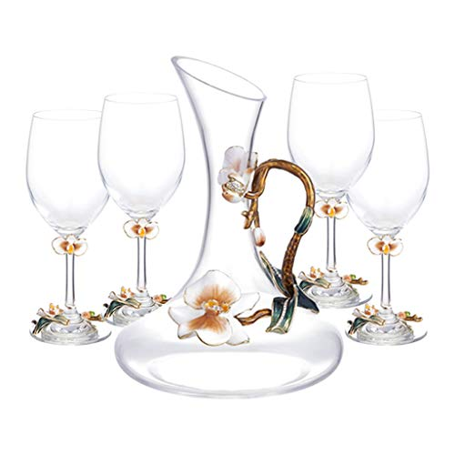 Hand-painted Enamel Color Wine Set Lead-free Crystal Glass European Style Wine Glass Set Luxury Wine Set, Adding A Sense Of Ceremony (Color : Clear, Size : 8 * 22cm*4+20 * 27cm)