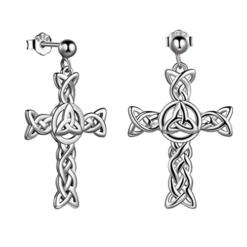Celtic Knot Cross Dangle Earrings Sterling Silver Celtic trinity knot Earrings Irish Jewelry Christmas FE0085W