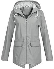 Frauit Waterdichte regenjas met capuchon, voor dames, windbestendige jas, windbreaker, overgangsjas, voor buiten, in grote maten, outwear