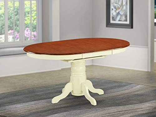 AVT-WHI-TP Oval Table with 18' Butterfly leaf - Buttermilk and Cherry