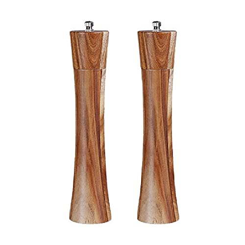 Salt and Pepper Grinders Wooden Tall, Multipurpose Manual with Ceramic Grinding Core and Stainless Steel Spring Easy to Disassemble Durable Pepper Mill for Storage Spices, Pepper-2PCS