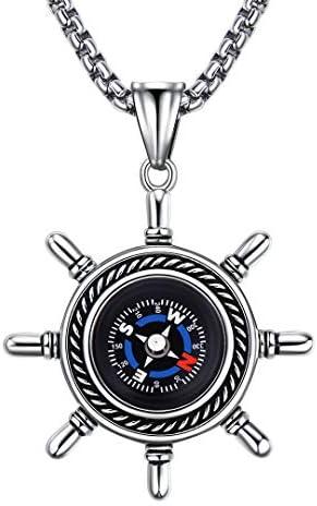 BBBGEM Stainless Steel Women Men Sailor Pirate Ship Steer Wheel Compass Necklace Handmade Graduation product image