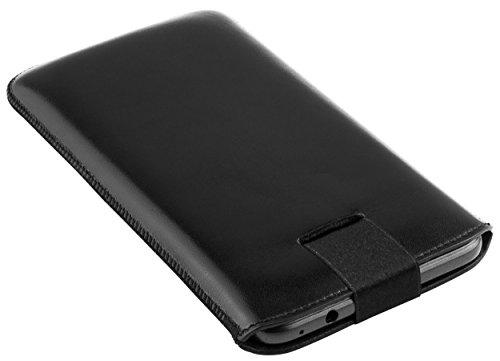 mumbi Echt Ledertasche kompatibel mit Huawei Ascend Y200 Hülle Leder Tasche Case Wallet, schwarz - 4