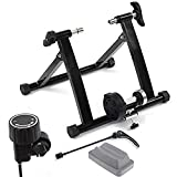 Ecovelò - Rodillo para Bicicleta para Entrenamiento en Interiores, Plegable, Resistencia magnética + Soporte + Cierre de liberación rápida, Color Negro (MGT401FF)