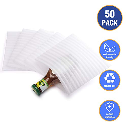 Fuxury 7.5' x 7.5' Foam Wrap Pouches, Cushion Pouches to Protect Dishes, Glasses, Porcelain & Fragile Items, Packing Cushioning Supplies for Moving (50 Count)