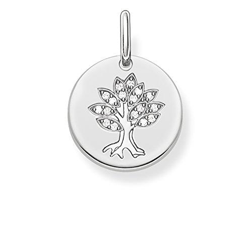 Thomas Sabo Damen-Anhänger Love Bridge Lebensbaum 925 Sterling Silber Zirkonia weiß 1.4 cm LBPE0008-051-14